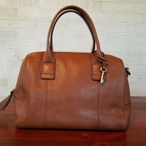 Fossil purse brown leather satchel pebble doctor